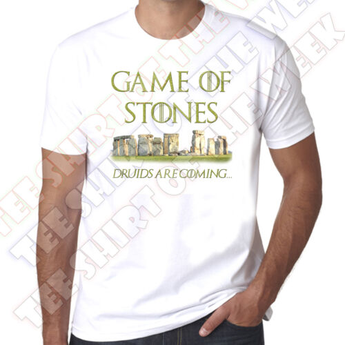Game Of Stones Stone Henge Thrones spoof Druids Are Coming 100/% Cotton T-shirt