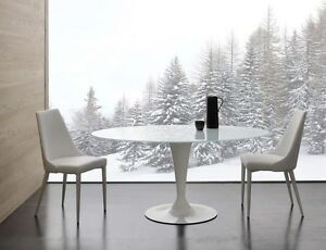 Tavolo Con Cristallo.Dettagli Su Tavolo Con Piano Ellittico In Cristallo Bianco Base Acciaio Laccata Bianca Ls618