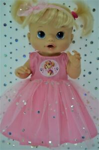Play-n-Wear-Dolls-Clothes-To-Fit-13-034-Baby-Alive-PINK-SEQUIN-DRESS-HEADBAND