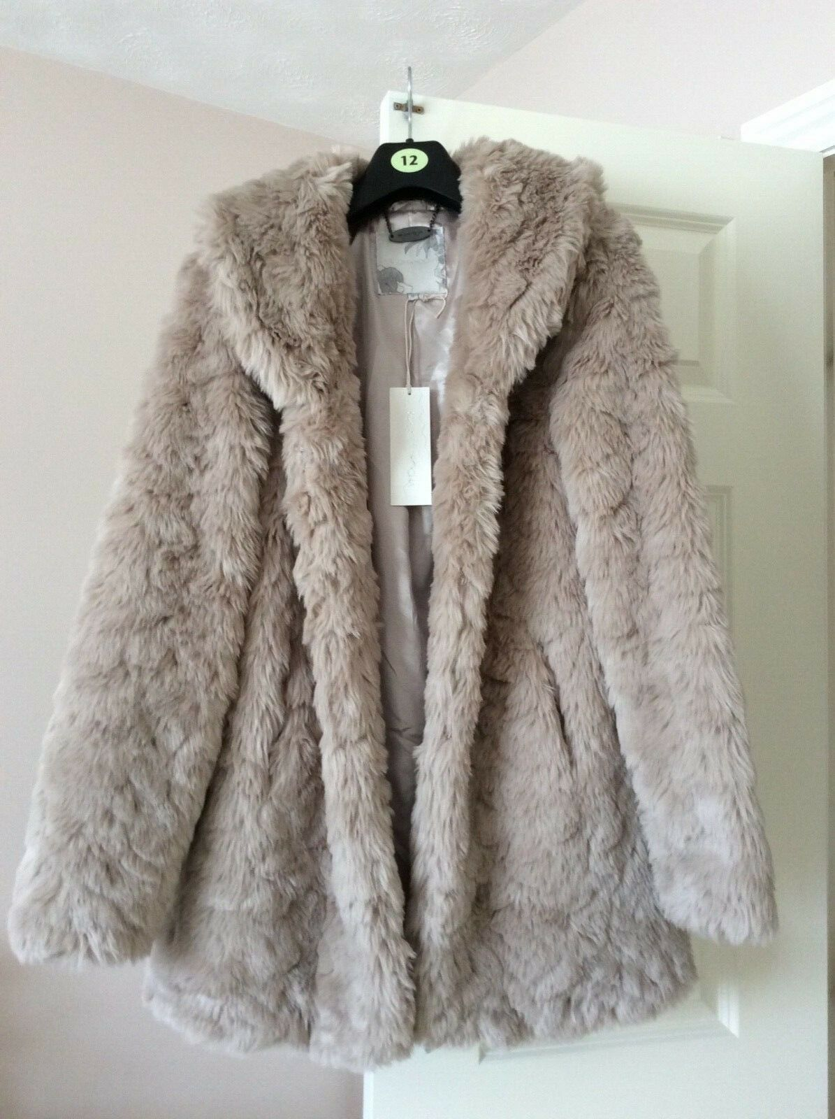 Rocha John Rocha faux fur coat in taupe new with tags UK size 12
