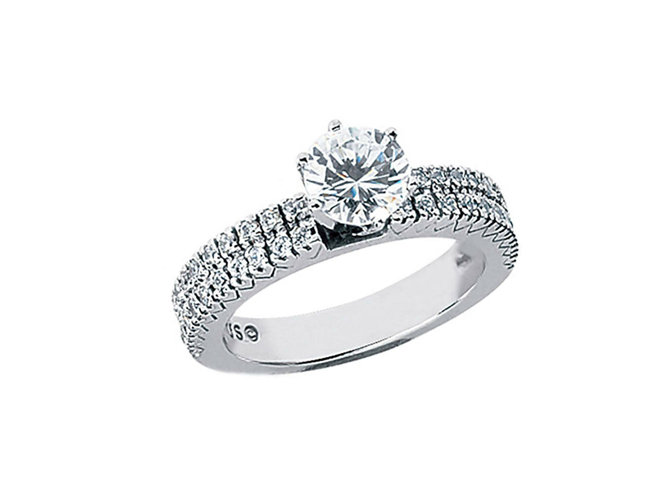 1.00ct Round Cut Diamond 2Row Pave Engagement Ring Solid 18k gold G SI1