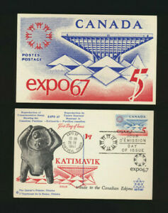 Canada-469-EXPO-67-Doublesided-First-Day-Cancel-Post-Card-COLE-Cachet-LOT-1240