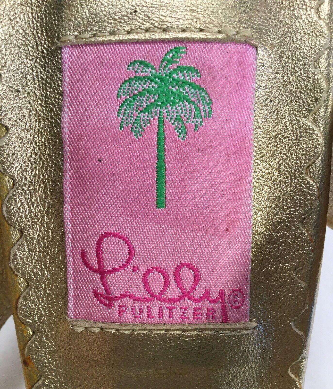 oro Metálico Sandalias Lilly Pulitzer 2 M  Tacones altos Tamaño 9.5 M 2 Exc. COND. 2f4964