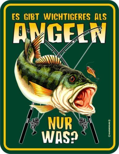 Wichtigeres als Angeln geprägt Angler Fun Schild Alu Blechschild bedruckt