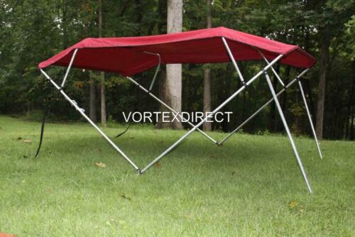 NEW VORTEX 4 BOW PONTOON//DECK BOAT BIMINI TOP 8/' BURGUNDY 91-96/""