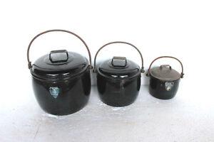 3-Pc-Vintage-Enamel-Ware-Black-Cooking-Pot-Kitchenware-Home-Decor-4645-G-PY-13
