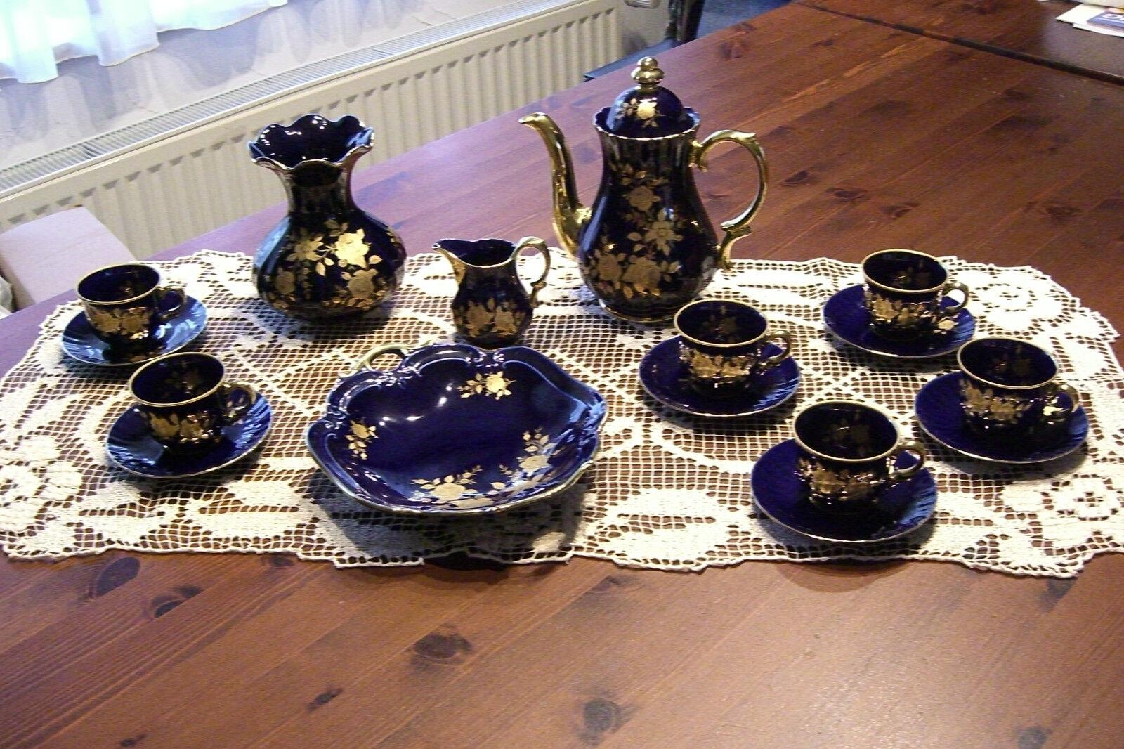 24 Karat Karat Karat kobaltblaues  Kaffee-  Teeservice mit reichhaltigem Blaumendekor    | Genial Und Praktisch  dbf34d
