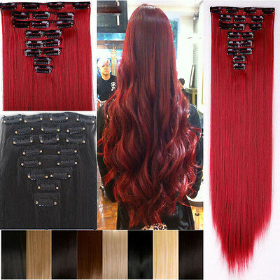 USA 100% Real 170g Full Head Clip In Hair Extension 17/23/24/26 inch Hallowmas