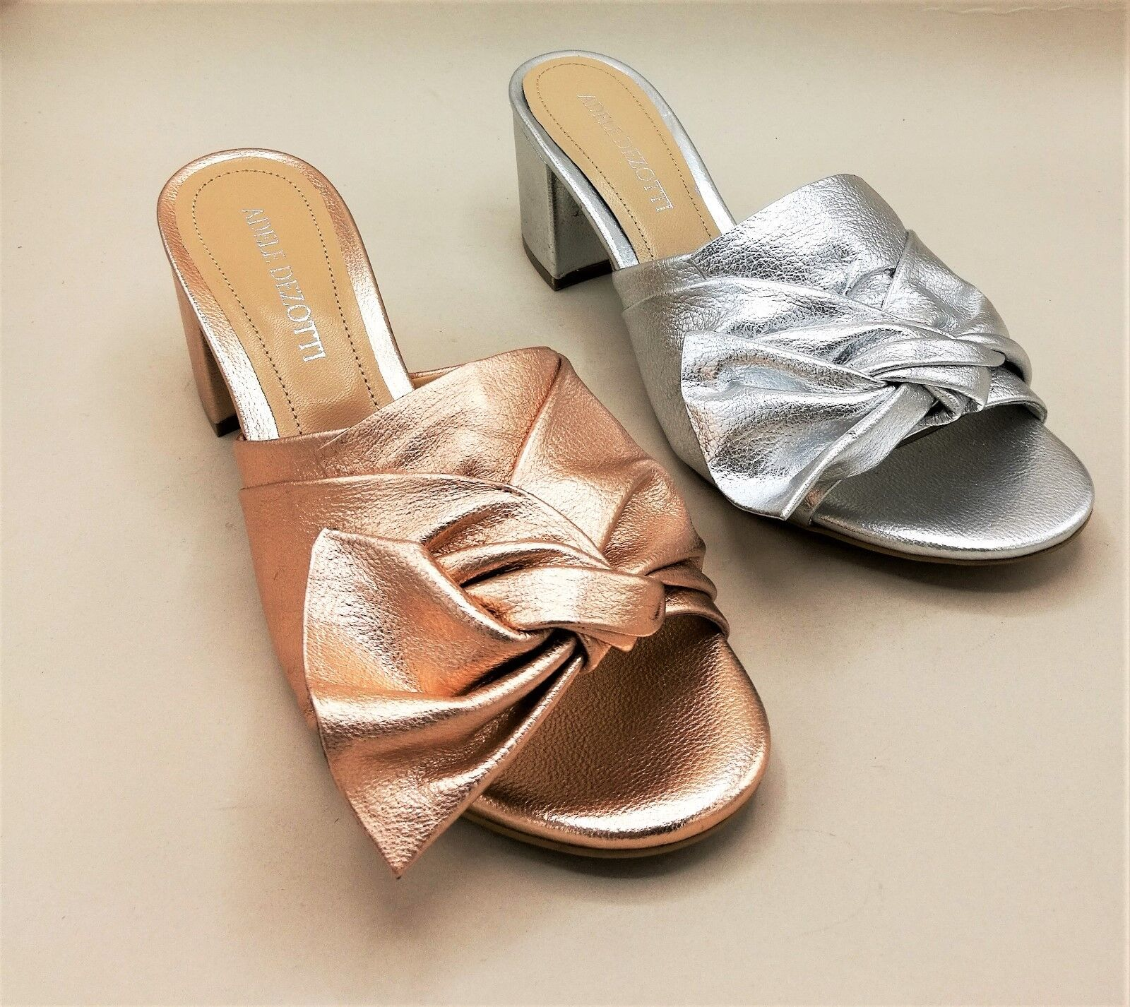 Adele Dezotti P1301 sandal laminated copper   silver with bow heel large 6 cm
