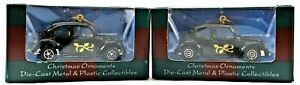 Lot of Two MAISTO 2000 Christmas Ornaments Die Cast 1:64 Black VW Beetle Bug