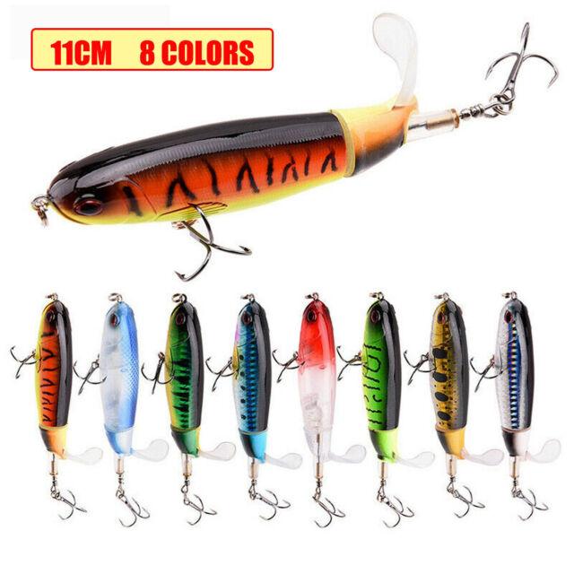 Whopper Popper Floating Rotating Tail Fishing Lure Bass Bait Crankbaits 11cm//15g