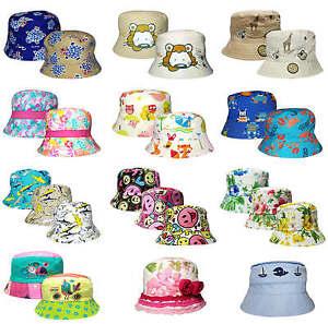 Infantil-Sombrero-Ala-Ancha-Varios-Disenos-Algodon-Verano-Gorro-Gorrro-Nuevo