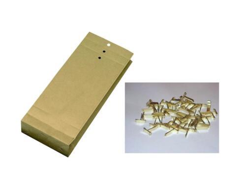 Faltentaschen 25 Musterbeutel 275 x 110 x 50mm 25 Flachkopfklammern Größe
