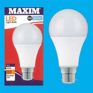 2x-16W-100W-GLS-BC-B22-A70-LED-Gluehbirne-Warmweiss-Lampe