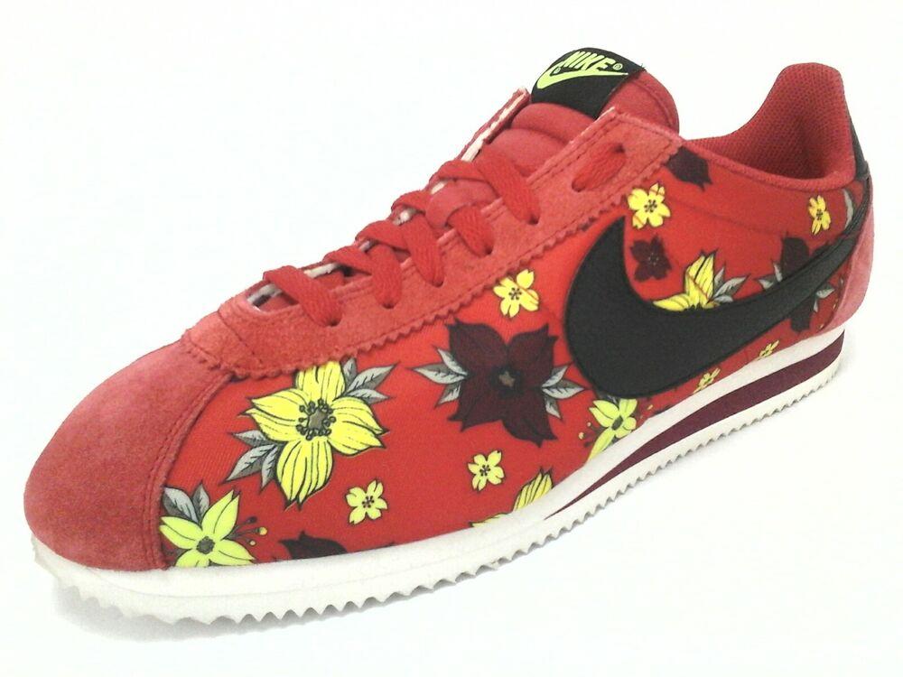 NIKE Chaussures Red Floral Fabric/Suede Fashion Baskets EU Retro Homme US 12 EU Baskets 46 RARE Chaussures de sport pour hommes et femmes 8f395a