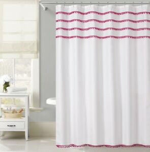 Image Is Loading Pom Waffle Fabric Shower Curtain 70 034