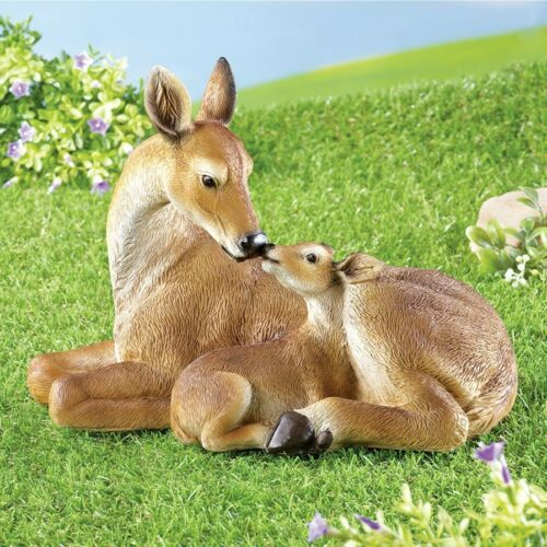 Realistic /& Textured Mama Deer And Fawn Snuggling Garden Statue