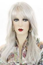 Gray White Grey Long Skin Top Straight Wigs
