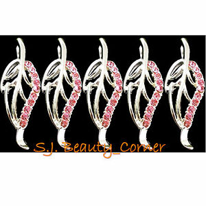 Jewellery-Leaf-5-x-Pendant-Charm-Pink-Rhinestone-Silver-Tone-New-25x10mm