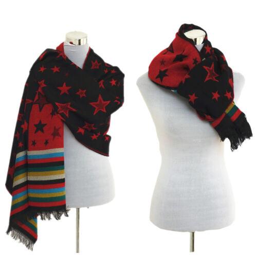 XXL Damen Schal Winter Tuch mit Sterne Liniert Plaid Cape Blogger Scarf TT411