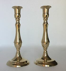 2-x-Kerzenleuchter-Messing-Kerzenstaender-gold-Kerzenhalter-23cm-80336