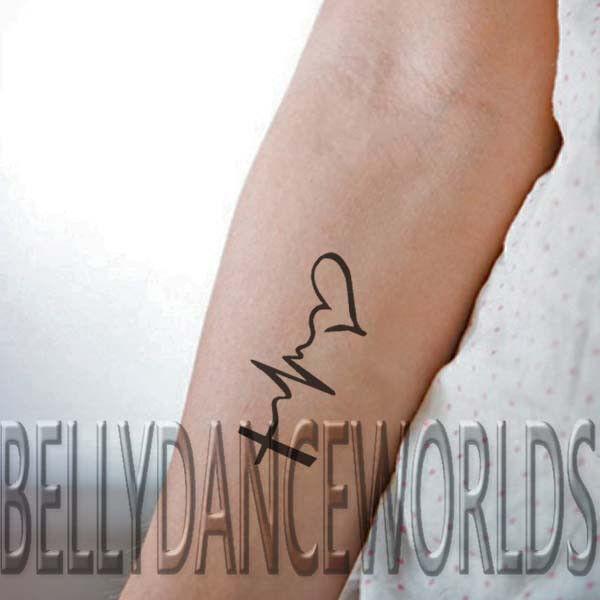 Tattoo Designs Ecg: 1 Set Of 3 Faith Hope Love EKG Design Temporary Tattoo