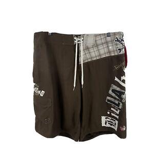 Billabong-Mens-Swim-Shorts-Size-38-Board-Shorts-Brown-Drawstring