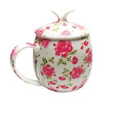 Bone China Cup/Mug, Pink Peony Floral with Lid