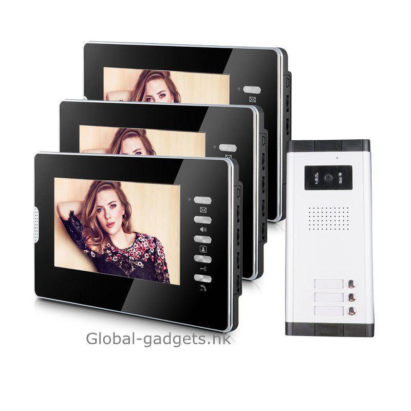 USA apartamento con Cable 7  pulgadas Video Puerta Teléfono Sistema De Intercomunicador + 3 Monitores Lcd
