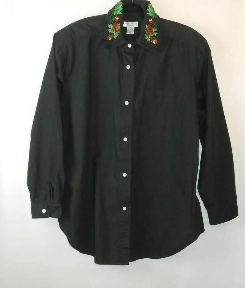 Vintage Lisa Coufal Shirt Large schwarz Acorn Leaf Embroiderot Collar Long Sleeve