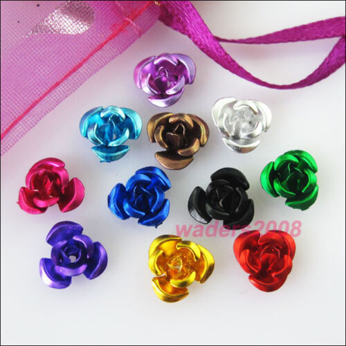 200 New Charms Mixed Aluminum Beautiful Flower Spacer Beads 8mm