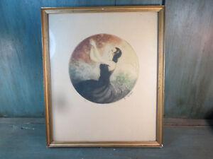 dessin-eau-forte-lithographie-A-FERAT-numerote-68-100-art-deco-femme