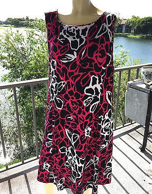 Dress, Plus Size 22W, Danny & Nicole, Black & Raspberry Stretch Flirty Dress,
