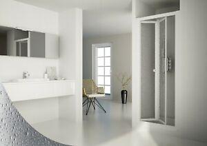 Nicchia Porta a libro Larghezza 100 cm Box doccia in Acrilico H 185 cm Profili alluminio bianco