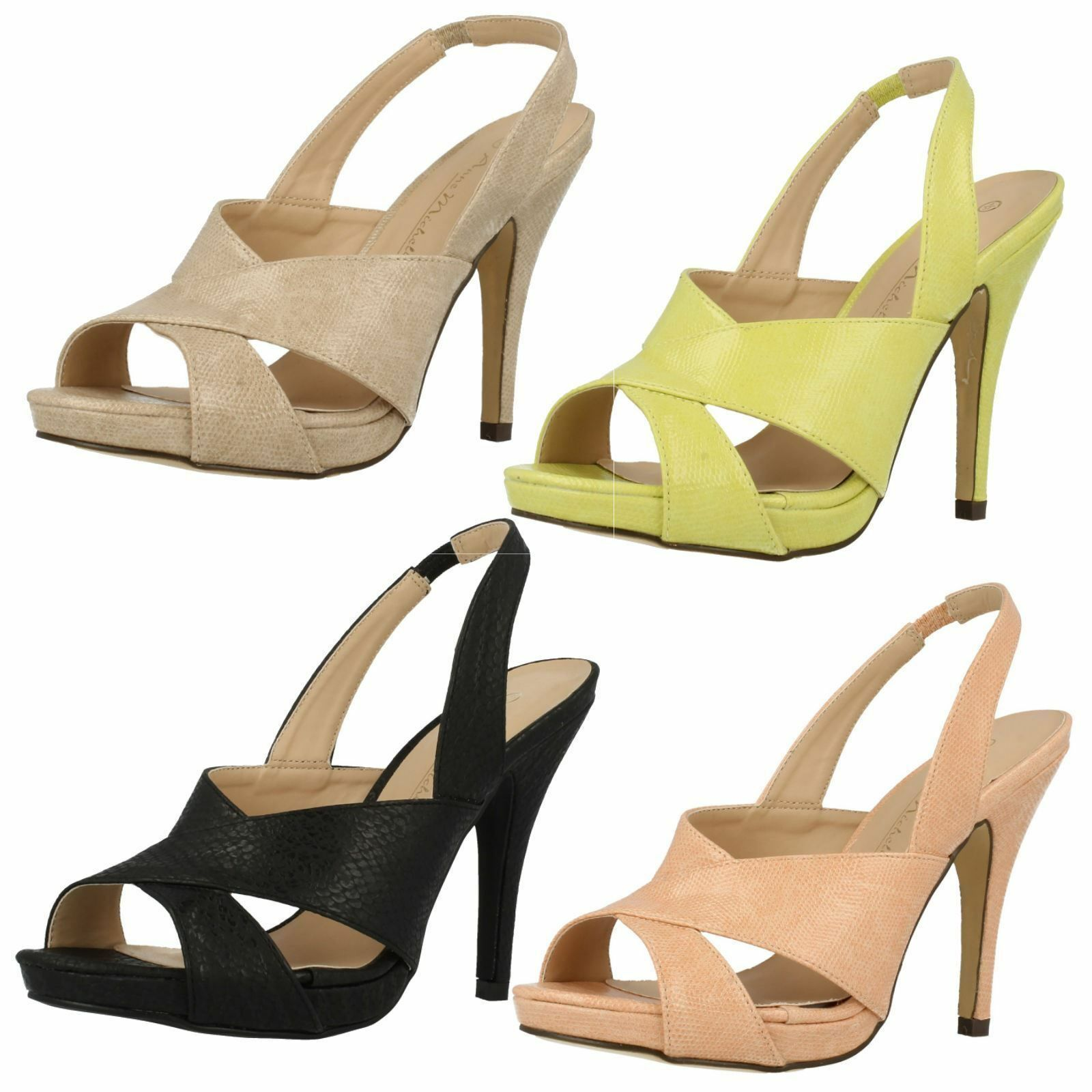 Ladies F10411 synthetic high heeled sandal by Anne Michelle SALE £9.99