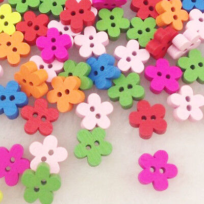 10/50/100/500pcs Colorful Flower Wood Buttons 2Holes Sewing Crafts W90