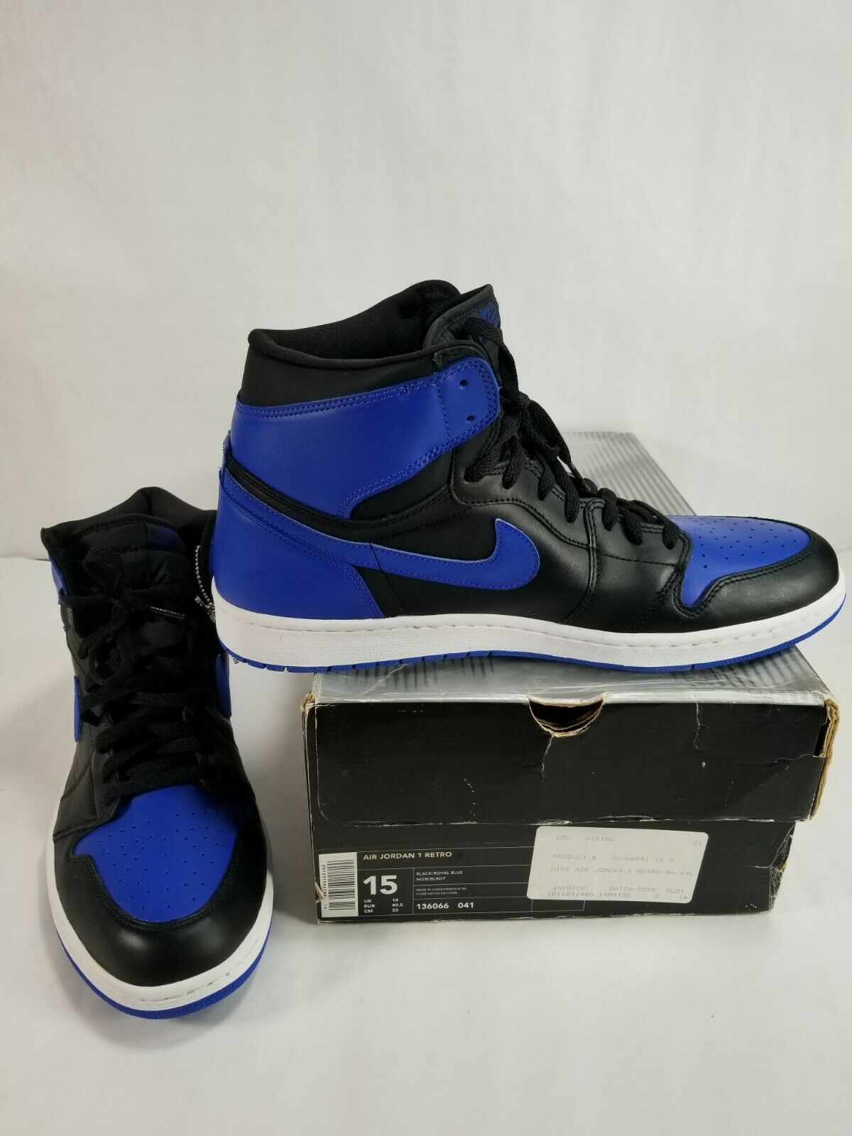 Nike Air Jordan 1 Retro Royal bluee 2001 Size 15 136066-041 NEW IN BOX FREE SHIP