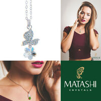 16 Rhodium Plated Necklace W/ Butterfly, Flower & Clear Crystals By Matashi on sale