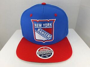 New York Rangers NHL Vintage Logo Basic Blue Red Snapback Hat Cap ... 1da472f7fe2b