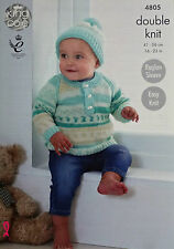 KNITTING PATTERN Baby Easy Knit Button Neck Jumper & Hat King Cole DK 4805