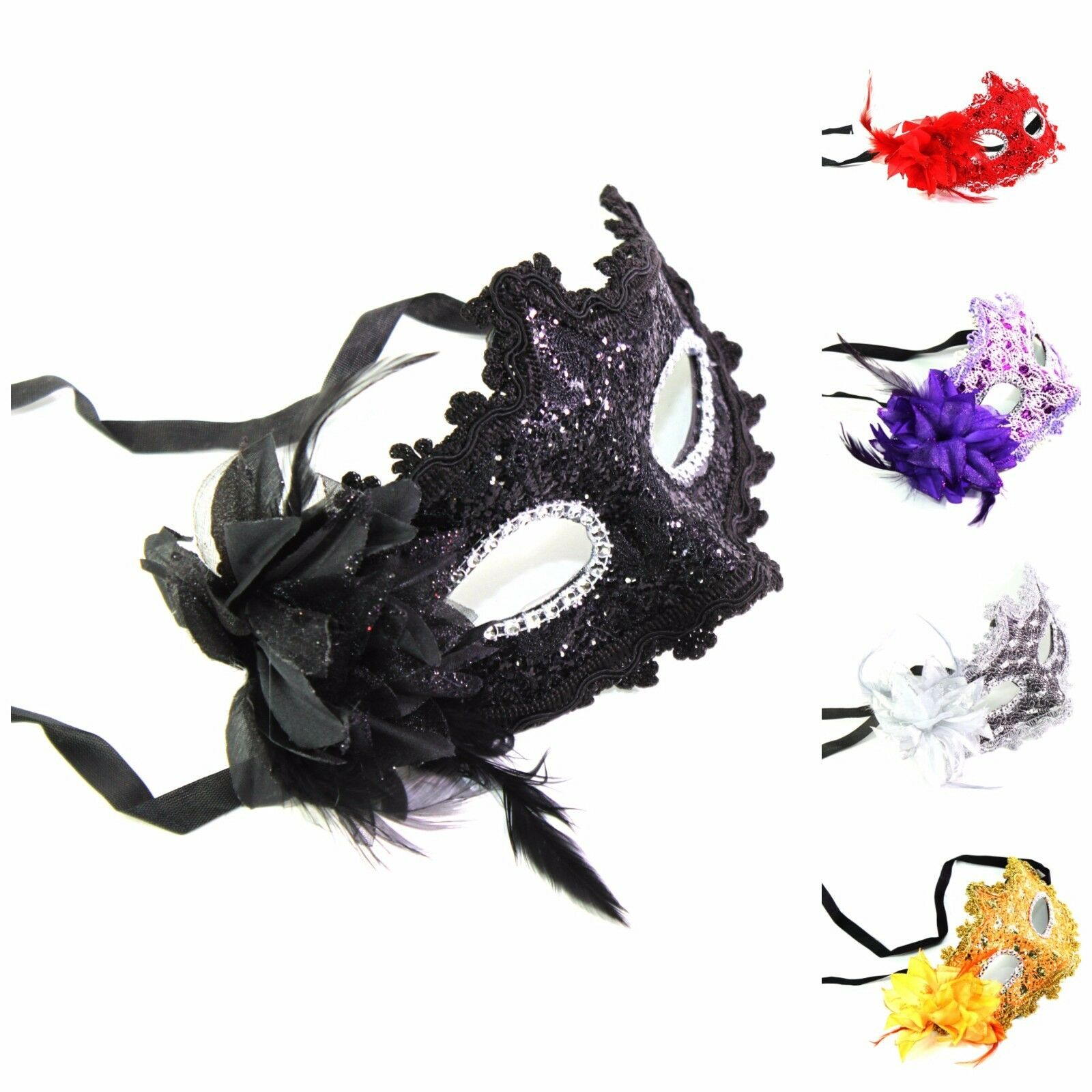cfa892a00ced Details about Women's Flower Feather Lace Eye Mask Masquerade Ball Party  Halloween Costume