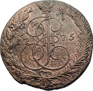 1775-CATHERINE-II-the-GREAT-Antique-Russian-5-Kopeks-Coin-Saint-George-i72114