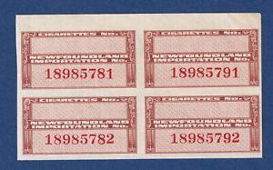 Revenue Stamps Newfoundland TB51 1945 Tobacco stamp imperf Bk of 4 NG F/VFmnh