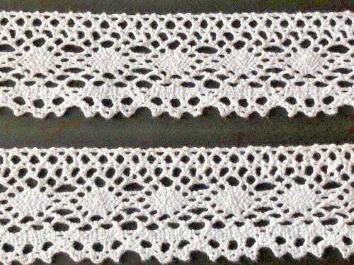 """laverslace White Vintage Shabbychic Cotton Cluny Crochet Lace Trim 2.25/""""//5.5cm"""