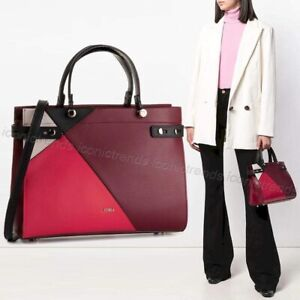 NWT-Furla-1021970-Lady-M-Colorblock-leather-Satchel-Ribes-Ruby-Onyx-Black