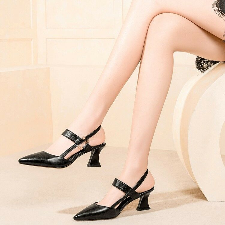 femmes Pointed Toe Slingback Chunky Med Heels Sandals Buckle Party Prom chaussures