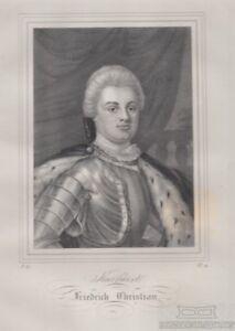Kurfuerst-Friedrich-Christian-von-Sachsen-1722-1763-Original-Lithografie-Gra