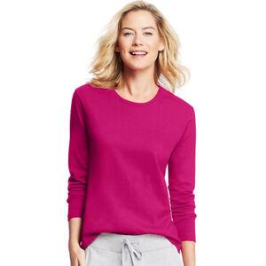 d5e2ca1a22b Hanes Women s 100 Cotton Long Sleeve Comfortable Crewneck T Shirt ...