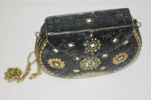 Indian Bag Clutch Purse Traditional Ethnic With Long Chain