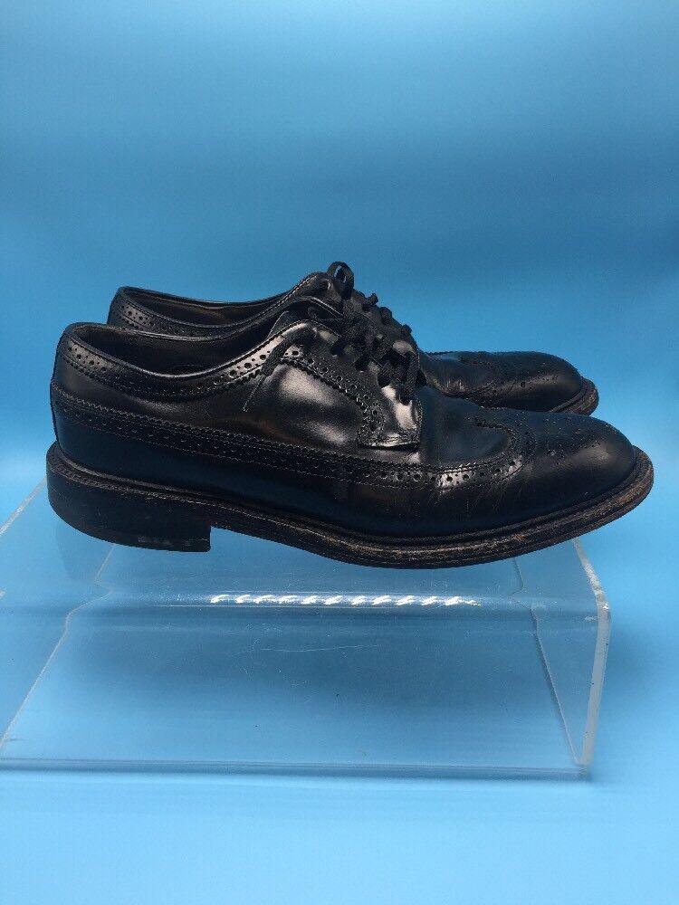 VTG Hanover Black Leather Wingtip Dress shoes Mens Sz 8 M